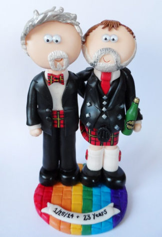 Scottish gay wedding theme cake topper with googly eyes