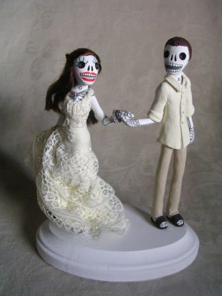 personalized Day of the dead themed wedding cake topper