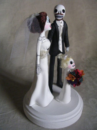 Day of the dead bride and groom cake topper with daughter