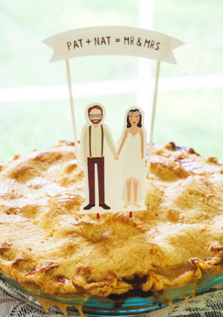 Custom Illustrated Portrait Handmade Wedding Cake Topper by Art of Melodious