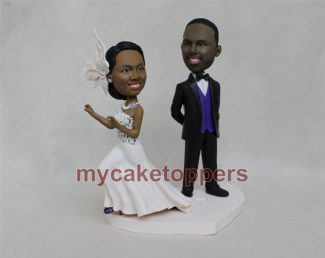 bobble head themed personalized wedding cake toppers