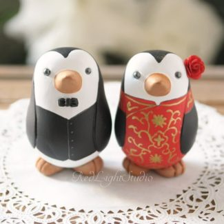 Chinese themed love bird cake topper