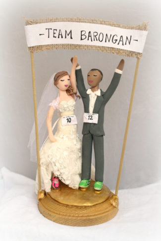 Marathon runners themed personalized wedding cake topper