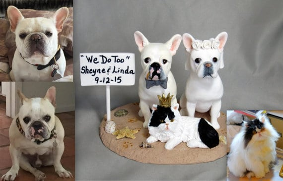 personalized pet themed wedding Cake Toppers