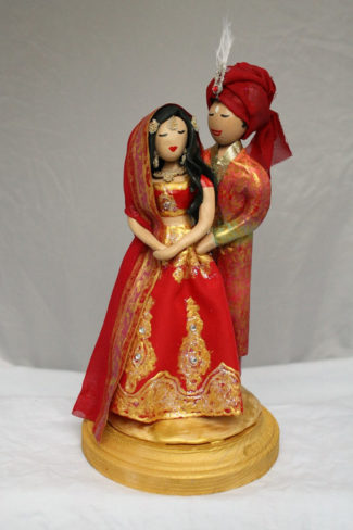 East Indian themed personalized wedding cake topper