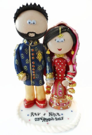 Indian couple theme personalized wedding cake topper