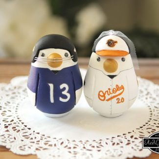 Love bird sports themed wedding cake topper by Red Light Studio