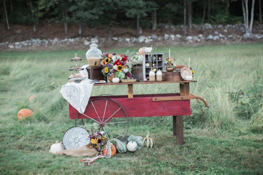 cart-with-vintage-decor-gourds-in-grass-field