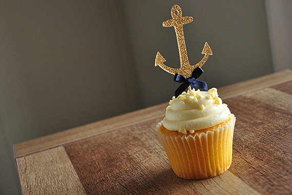 gold anchor cupcake toppers