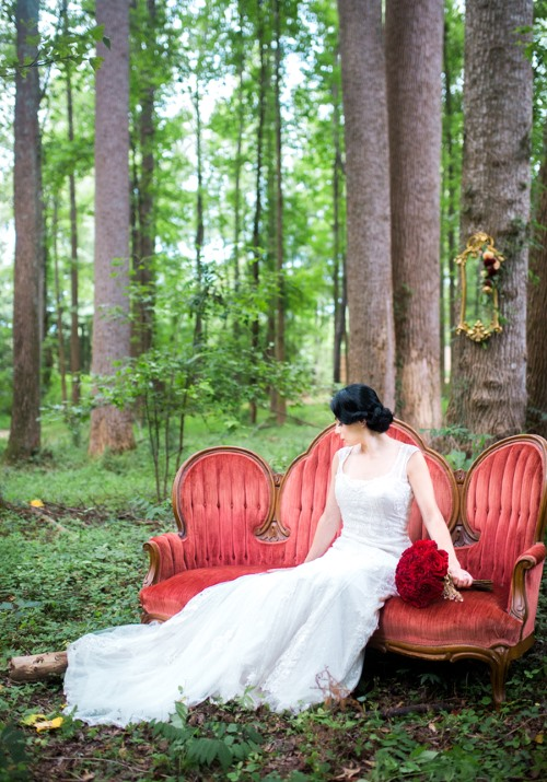 Chic snow white styled shoot with red accents for Bella flora chaise lounge
