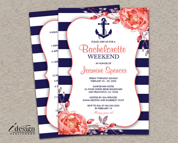 navy striped invitation for bachelorette party
