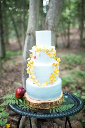 wedding-cake-on-wood-round-and-mirror