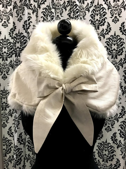 Faux Fur Bridal Wrap with Silk Bow