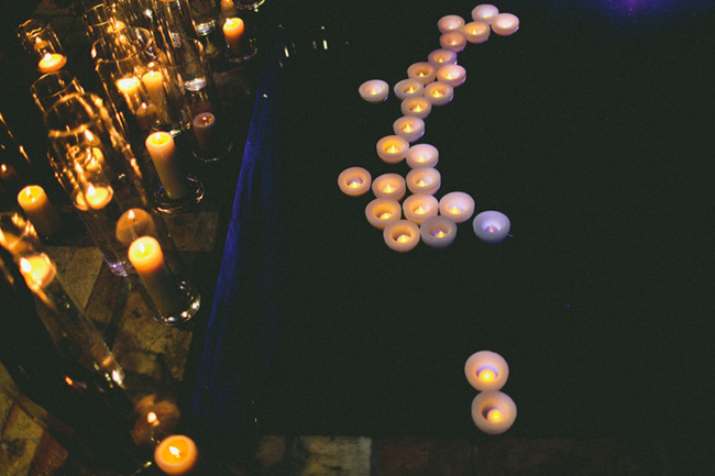 floating candles for outdoor wedding ceremony pond
