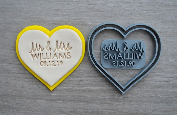 Heart Wedding Custom Cookie Cutter Set