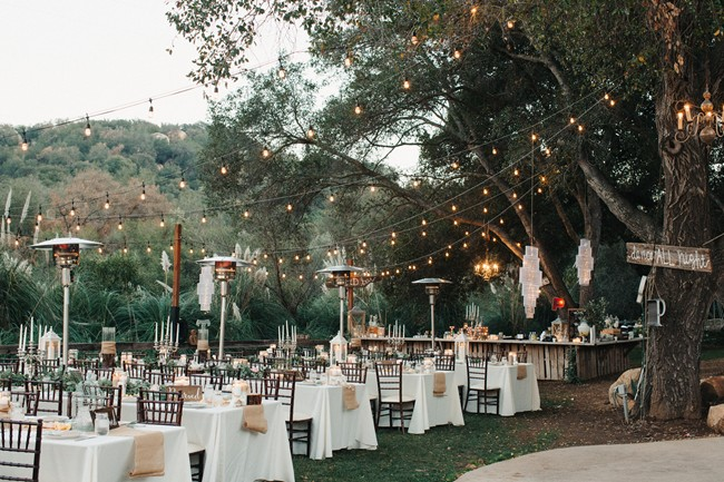 standing area heaters at outdoor wedding reception