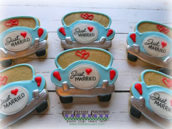Just Married car shaped wedding cookie favors
