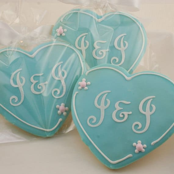 Monogrammed Heart Cookies wedding favors