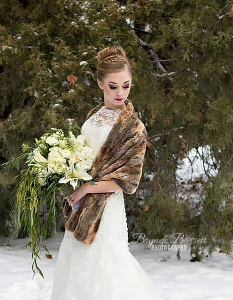 Soft Brown Faux Fox Fur Bridal Wrap