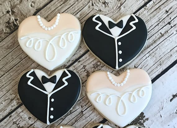 Tuxedo and Gown weddng Cookie favors