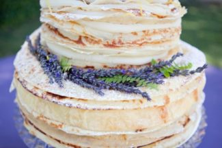 lavender on wedding cake