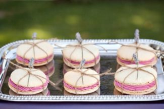 lavender sprig wrapped twine around macaroons