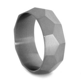 faceted titanium mens wedding band e1486068257217jpg