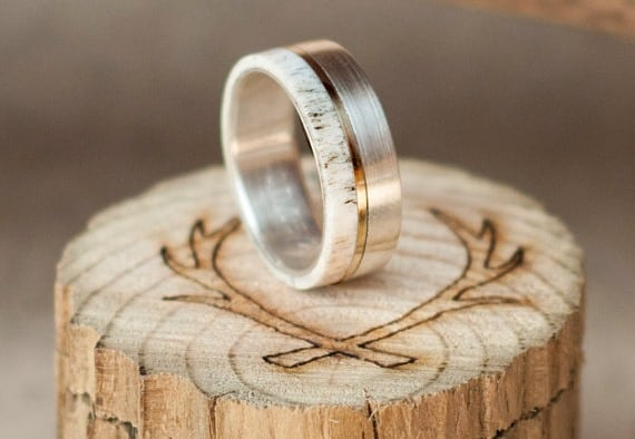 Unique Men's Wedding Band with Elk Antler