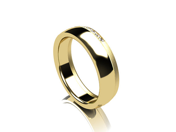 a jewelry designer from finland presents this stunning gold band complete with diamonds in micro pav setting - Wedding Ring For Men