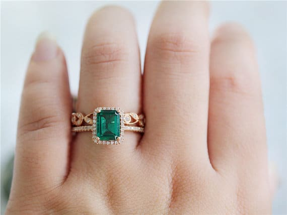 14K Rose Gold Emerald Engagement Ring and Diamond Matching Bands