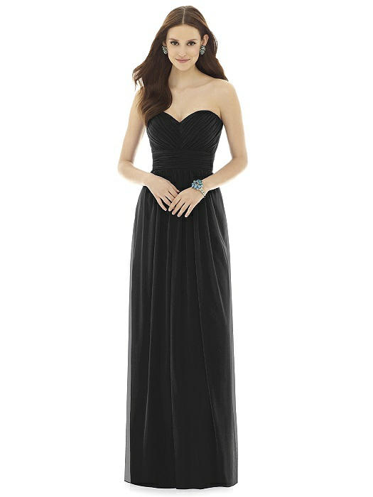 Alfred-Sung-black-floor-length-bridesmaids-dress-style-D725