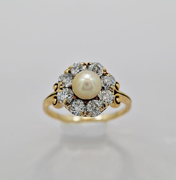 Antique Engagement Ring Natural Pearl