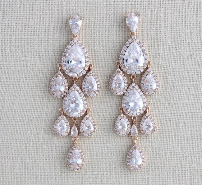 Art Deco Bridal Chandelier Earrings