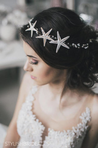 Beach Wedding Hair Piece, Beach Bridal Crown Starfish, Bridal Beach Headband, Wedding Hair Vine, Wedding Hair Piece with Starfish