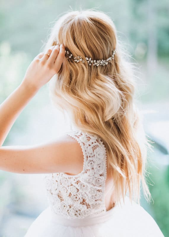 Boho Bridal Back Headpiece vine