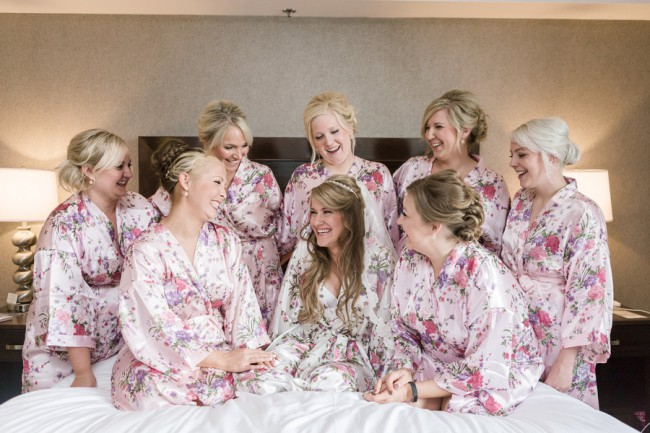 Bridesmaids in floral flutter robes