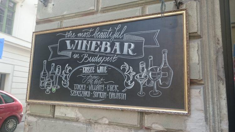 Chalkboard Sign Outside Budapest Bar