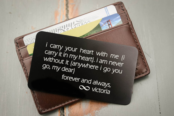 Engraved Wallet Card with wedding vows