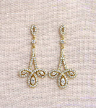 Gold Infinity Chandalier Bridal Earrings with rhinestones