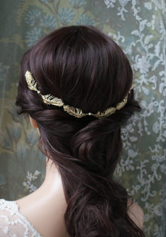 Gold leaf feather halo bridal hair piece