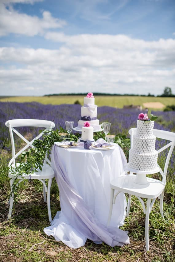 outdoor cakes on table in lavender field