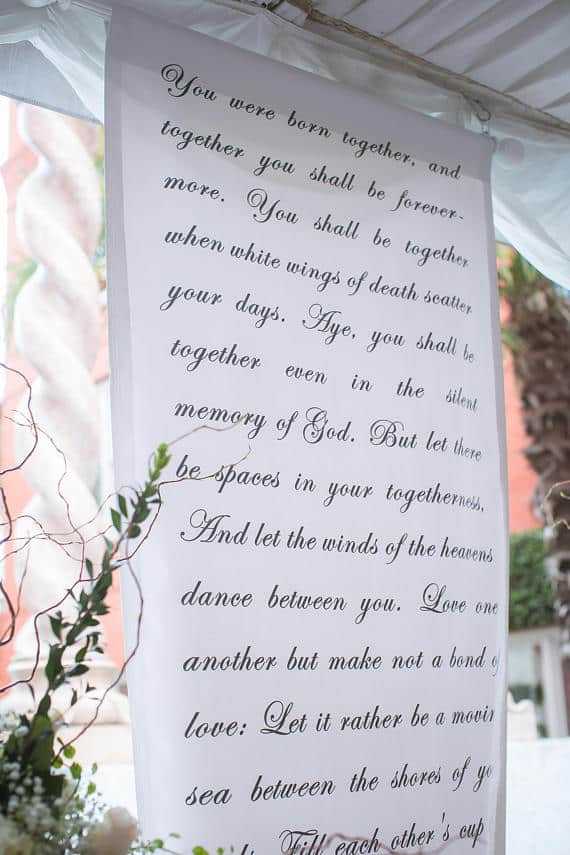 Handwritten calligraphy style wedding ceremony backdrop aisle runner