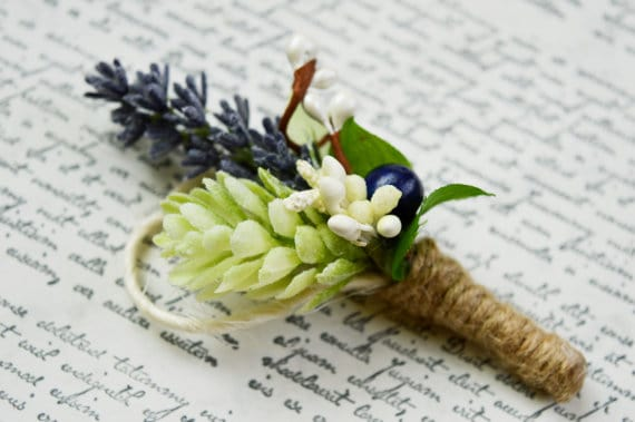 dried lavender boutonniere wrapped in twine