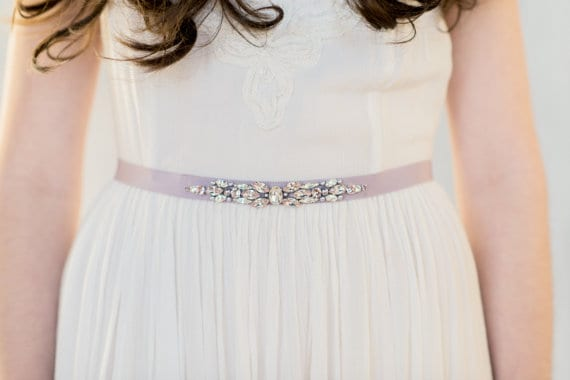 two tone crystal dress sash in lavender