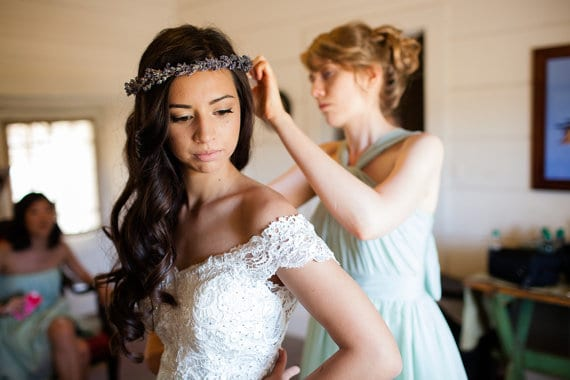 bride wearing lavender floral crown