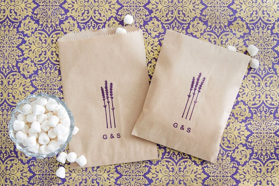 lavender design on favor bag