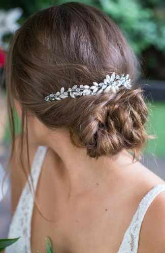 Leaf shaped rhinestone bridal Halo with Combs