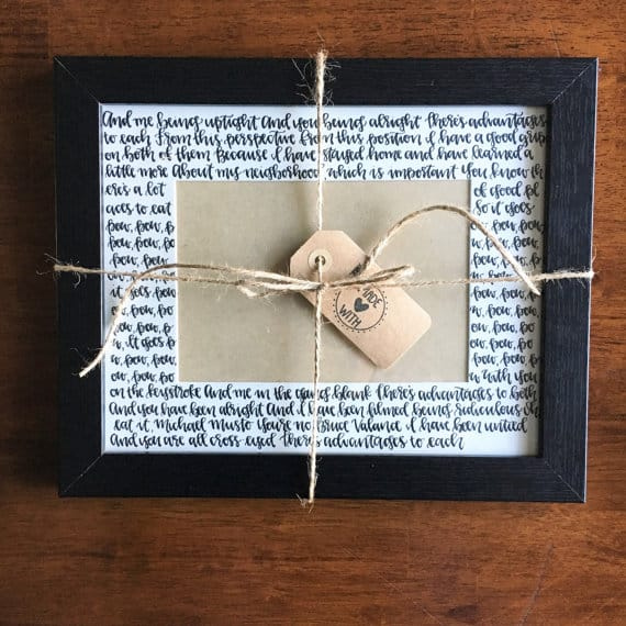 Modern Calligraphy Picture Frame Matte with wedding vows