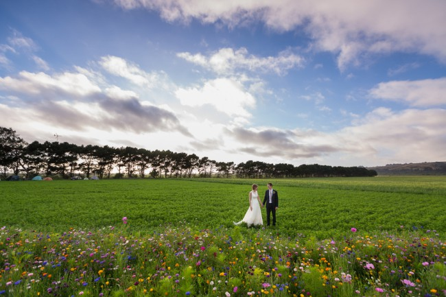 Newlyweds stand in Leonardi farm field