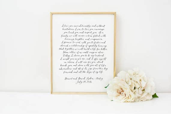 PAIR of Custom Calligraphy Wedding Vows